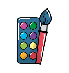 Paint palette with brush art tool vector