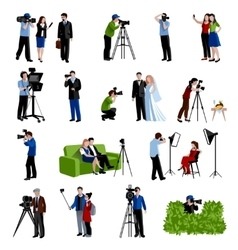 Photographer And Videographer Icons Set vector