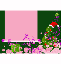pink chrstmas tree card vector image