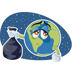 Planet earth holding plastic trash bag cart vector