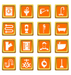 plumbing icons set orange vector image
