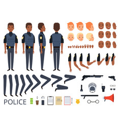 Police characters detail creation kit constructor vector