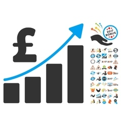 Pound Financial Bar Chart Icon With 2017 Year vector