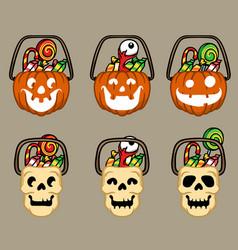 Pumpkins and skull halloween basket vector