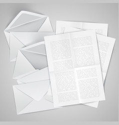 realistic opened envelope with papers vector image