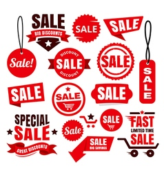 Red Discount Sale Tags Badges And Ribbons vector