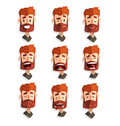 Redhead bearded man with emotional face set male vector
