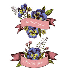 ribbon design heartseases and herbs with thank vector image