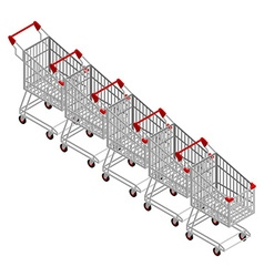 Row shopping carts many shopping trolley vector