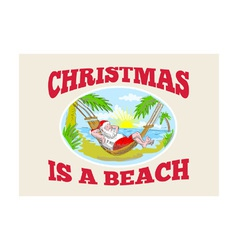 Santa Claus Father Christmas Beach Relaxing vector image