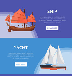 Sea yachts flyers with side view sailboats vector