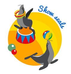 Seals show round design concept vector
