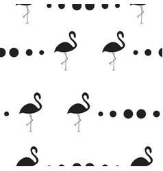 seamless pattern with black silhouette flamingos vector image