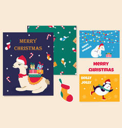 Set of christmas cards and holiday pattern vector
