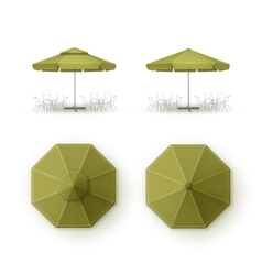Set of Green Patio Outdoor Beach Cafe Umbrella vector