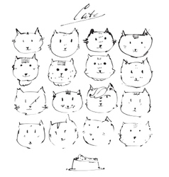 Set of ink cats faces drawn freehand with liquid vector