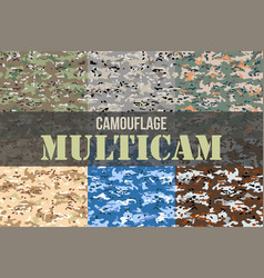 Set of multicam camouflage seamless patterns vector