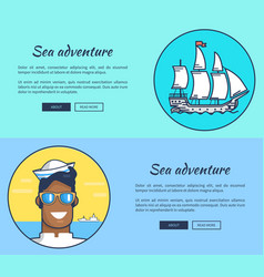 Set of sea adventure banners with inscriptions vector