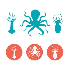 set seafood flat icons vector image
