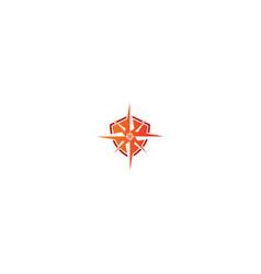 shield compass star logo vector image