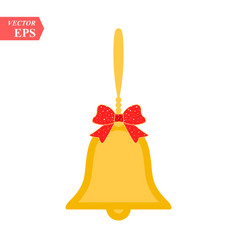 Shiny golden christmas bells decorated with red vector