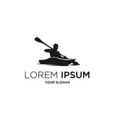 silhouette kayak vector image