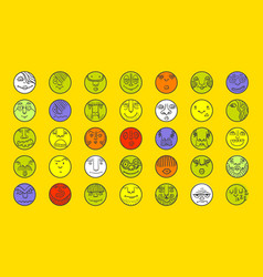 Smile cartoon circle icones vector