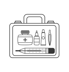 Suitcase first aid kit with medical tools vector
