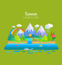 Summer landscape concept in flat design vector
