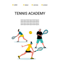 Tennis academy summer tennis campconcept of vector