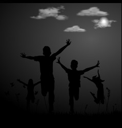 the active group of children spend a happy time vector image