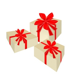 Three Beautiful Gift Boxes with Red Ribbon vector image