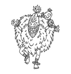 Tribal dancer coloring page vector