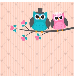 Two cute owls in love vector