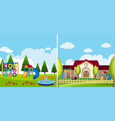 Two playground scenes at the park and school vector