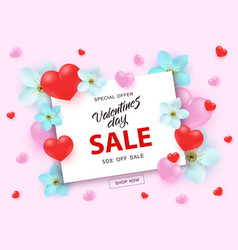 valentines day sale banner with sign on white vector image