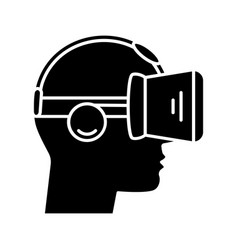 vr player side view glyph icon vector image
