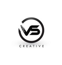 Vs brush letter logo design creative brushed vector