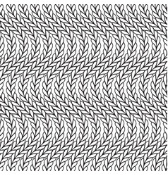 Wavy black and white knitted seamless pattern vector