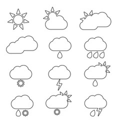 weather icon line set vector image