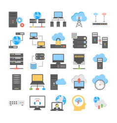 Web hosting and cloud computing process flat vector