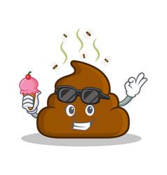with ice cream poop emoticon character cartoon vector image