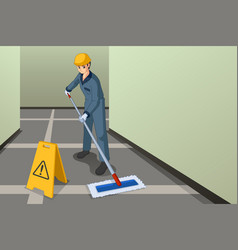 Working janitor mopping floor vector