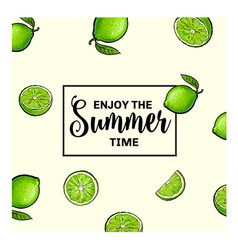 banner postcard design with limes background and vector image vector image
