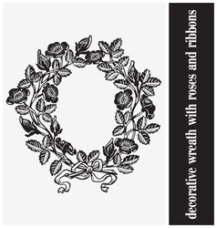 decorative wreath with roses and ribbons vector image