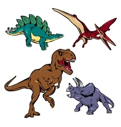 Dinosaurs Colored Icons Set vector image