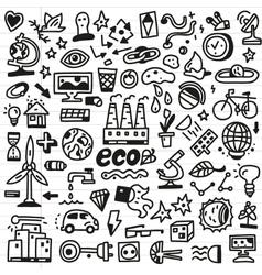 Ecology - doodles set vector