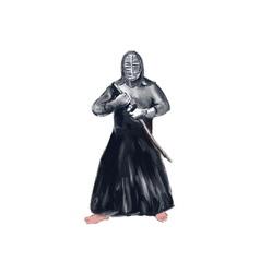 Kendoka Kendo Swordsman Watercolor vector image vector image