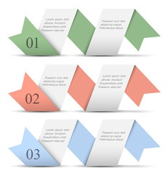 Origami paper numbered banners in pastel colors vector image