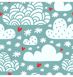 Seamless pattern with clouds and falling vector image vector image